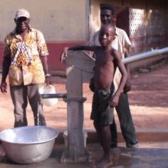Water borehole funded by DfID for the women and climate change project, Brong Ahafo