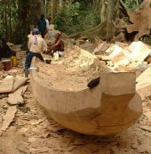Crafting a fishing canoe in the forest